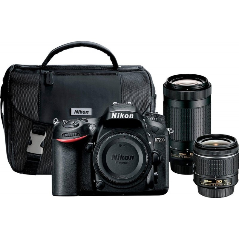 Nikon - D7200 DSLR Camera with 18-55mm and 70-300mm Lenses - Black