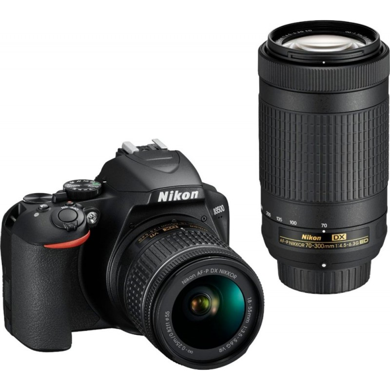 Nikon - D3500 DSLR Camera with AF-P DX NIKKOR 18-55mm f/3.5-5.6G VR and AF-P DX NIKKOR 70-300mm f/4.5-6.3G ED Lenses