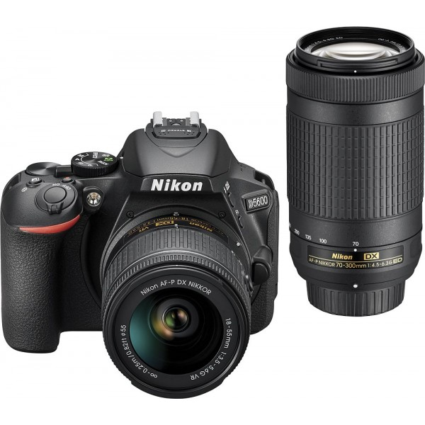 Nikon - D5600 DSLR Camera with 18-55mm and 70-300m...