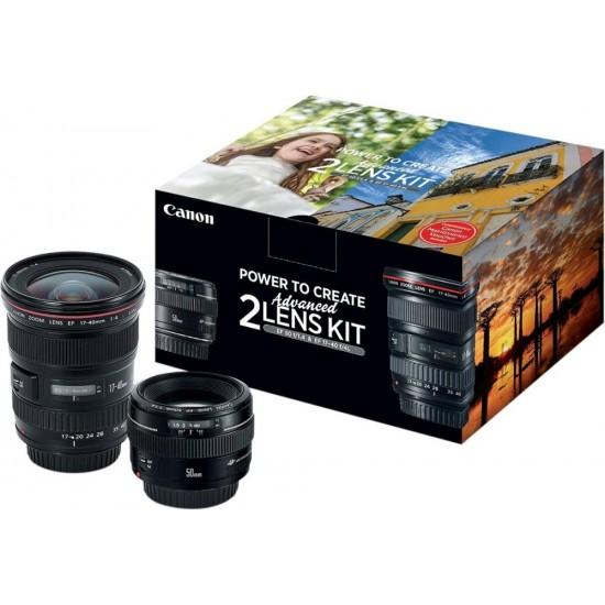 Canon - EF 17-40mm f/4L USM Wide-Angle Zoom and EF 50mm f/1.4 USM Lens Kit for Canon DSLR - black