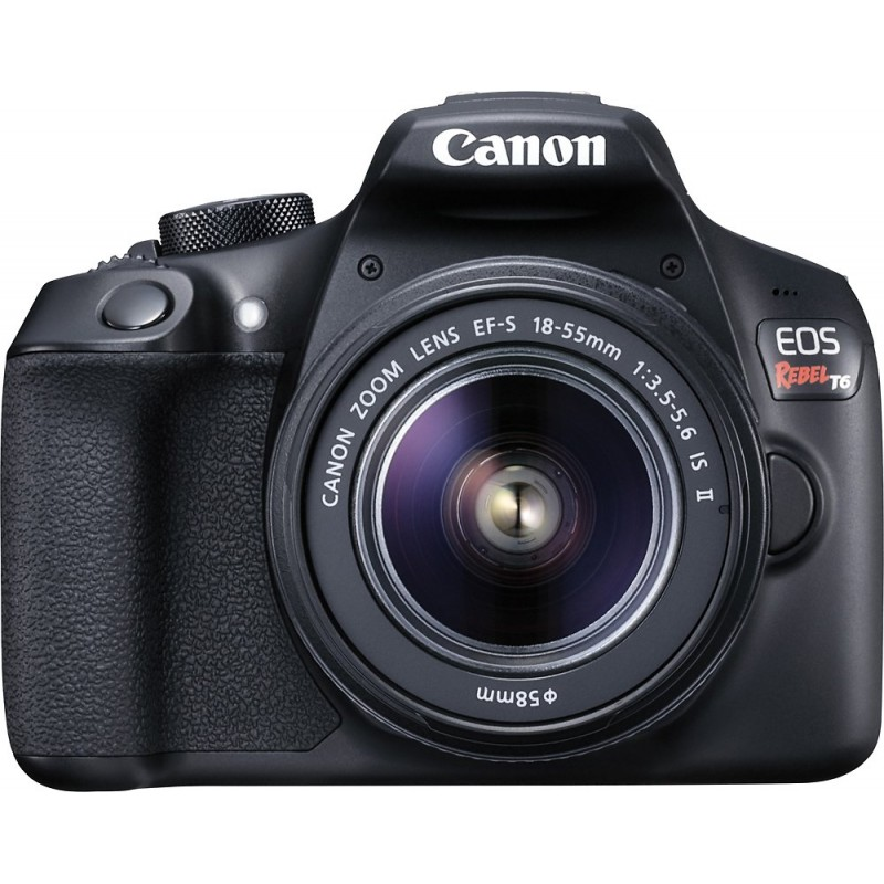 Canon - EOS Rebel T6 DSLR Camera with EF-S 18-55mm f/3.5-5.6 IS II Lens - Black